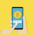 bitcoin on the screen of a mobile phone vector image vector image
