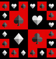 card suit chess board red and black pattern vector image vector image