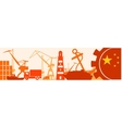 Cargo port relative icons set China flag in gear vector image vector image