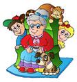 cartoon grandma with two kids vector image