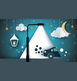 cartoon paer landscape street lamp bulb light vector image