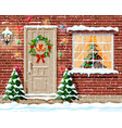 christmas facade decoration vector image