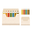 coloured pencils in the box on a b vector image