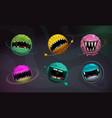 crazy colorful monster balls cartoon fantasy vector image vector image