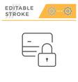 credit card locking editable stroke line icon vector image