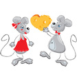 Cute mouses couple vector image