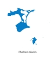 Detailed map of Chatham Islands vector image vector image