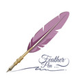 feather pen writing implement made from feathers vector image vector image
