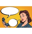 Female phone conversation communication vector image vector image
