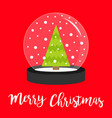 fir tree icon crystal ball with snow merry vector image