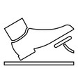 foot pushing the pedal gas pedal brake pedal auto vector image