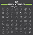 fruit and vegetables thin line icon set vector image