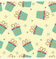 gift boxes seamless pattern hand drawn vector image