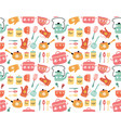 hand drawn pastel vintage kitchen seamless vector image