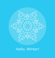 hello winter poster with blue snowflake in circle vector image vector image
