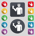 Inspector icon sign A set of 12 colored buttons vector image vector image