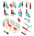 isometric barber shop set vector image vector image