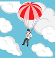isometric businessman flying with parachute vector image vector image