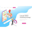 isometric flat landing page for local seo vector image vector image