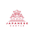 japanese castle outline line monoline logo design vector image
