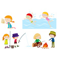 Kids doing different activities vector image vector image