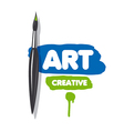 logo brush and blue and green paint vector image