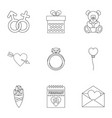 lovers day icons set outline style vector image