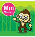 M Monkey color cartoon and alphabet for children vector image vector image