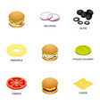 meatball icons set isometric style vector image vector image