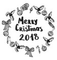 merry christmas 2018 hand drawn design elements vector image vector image