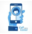 Mobile in hand call center in blue vector image