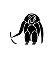 monkey black icon sign on isolated vector image vector image