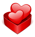 open gift heart with two red hearts vector image vector image