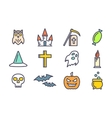 Outline icons set for Halloween vector image vector image