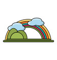 rainbow and mountains landscape vector image