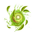 realistic fresh kiwi exotic fruit flow vector image vector image