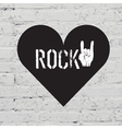 rock on symbol on white bricks concept vector image vector image