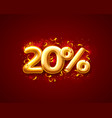 sale 20 off ballon number on red background vector image vector image