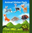 set animal sticker vector image vector image