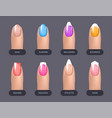 set of simple realistic colorful manicured nails vector image
