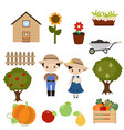 set of trees and gardening icons set of trees and vector image vector image