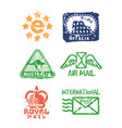 set of vintage postage mail stamps vector image vector image