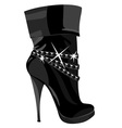 shining black boots with heels vector image