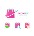 shop and plane logo combination sale vector image vector image