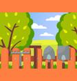 summer garden landscape green trees wood fence vector image