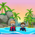 two divers at seaside vector image vector image