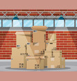warehouse interior with goods and container vector image vector image