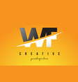 wf w f letter modern logo design with yellow vector image vector image