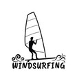 wind surfing silhouette design vector image