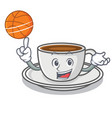 with basketball coffee character cartoon style vector image vector image